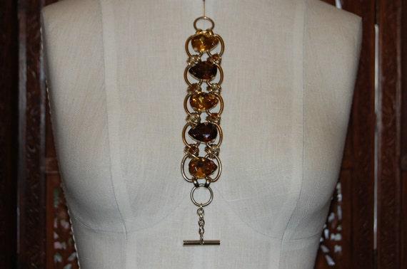 1950s   5 Link  Chunky Rhinestone Bracelet