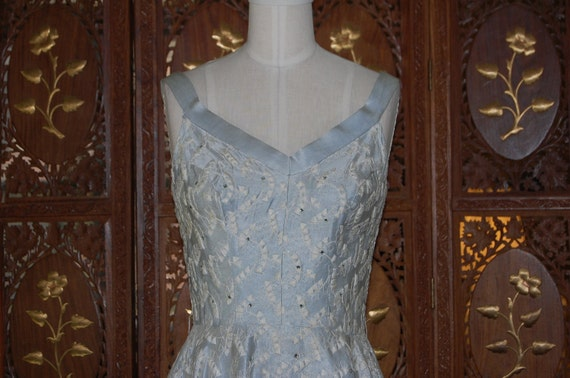 1950s Baby Blue Silk Embroidered & Rhinestone Studded Swing Dress
