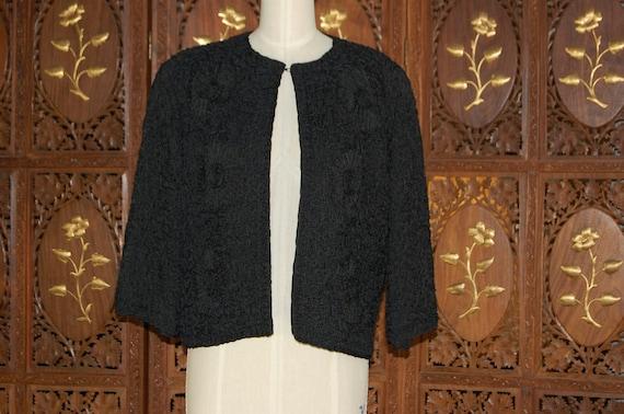 Vintage 1940s Black Ribbon Floral Embroidered Evening Jacket