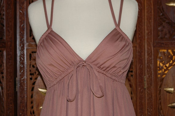 Vintage 1970s FRANK USHER  Tan Jersey Grecian Empire Maxi Dress  Sz US 4/6