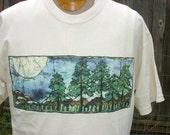 Mens t shirt Mountain Forest with Moon batik silkscreen size L-XL white cotton original art reproduction