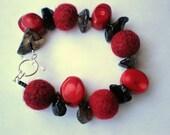 Handmade Needle Felted Bead and Stone Bracelet