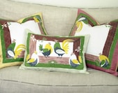 Roosters and Chickens. Quilted Linen Throw Pillows, Set of 3.