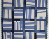 Linen and Denim Stripe Handmade Baby Quilt