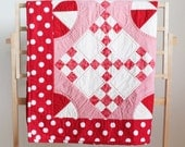 Red and White Handmade Baby Quilt or Wall Hanging with Hand Quilted Details