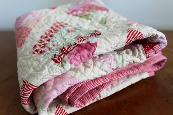 Handmade Crib Quilt, Heirloom Baby Gift - Pink Diamonds by PeppermintPinwheels
