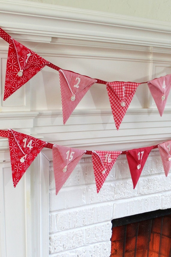 Christmas Pennant Advent Calendar. Handmade by Peppermint Pinwheels