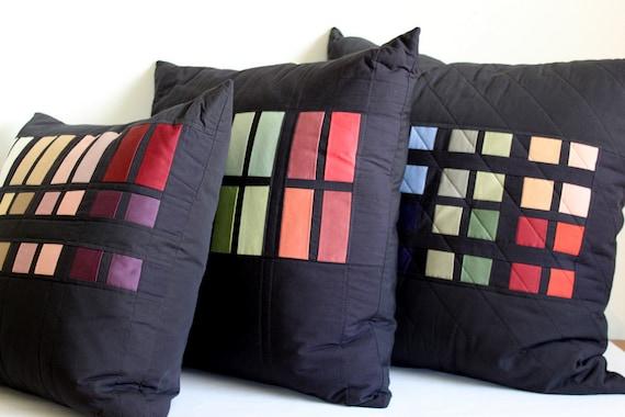 Color Block Patchwork Throw Pillows. Set of 3 Decorator Sofa Cushions.