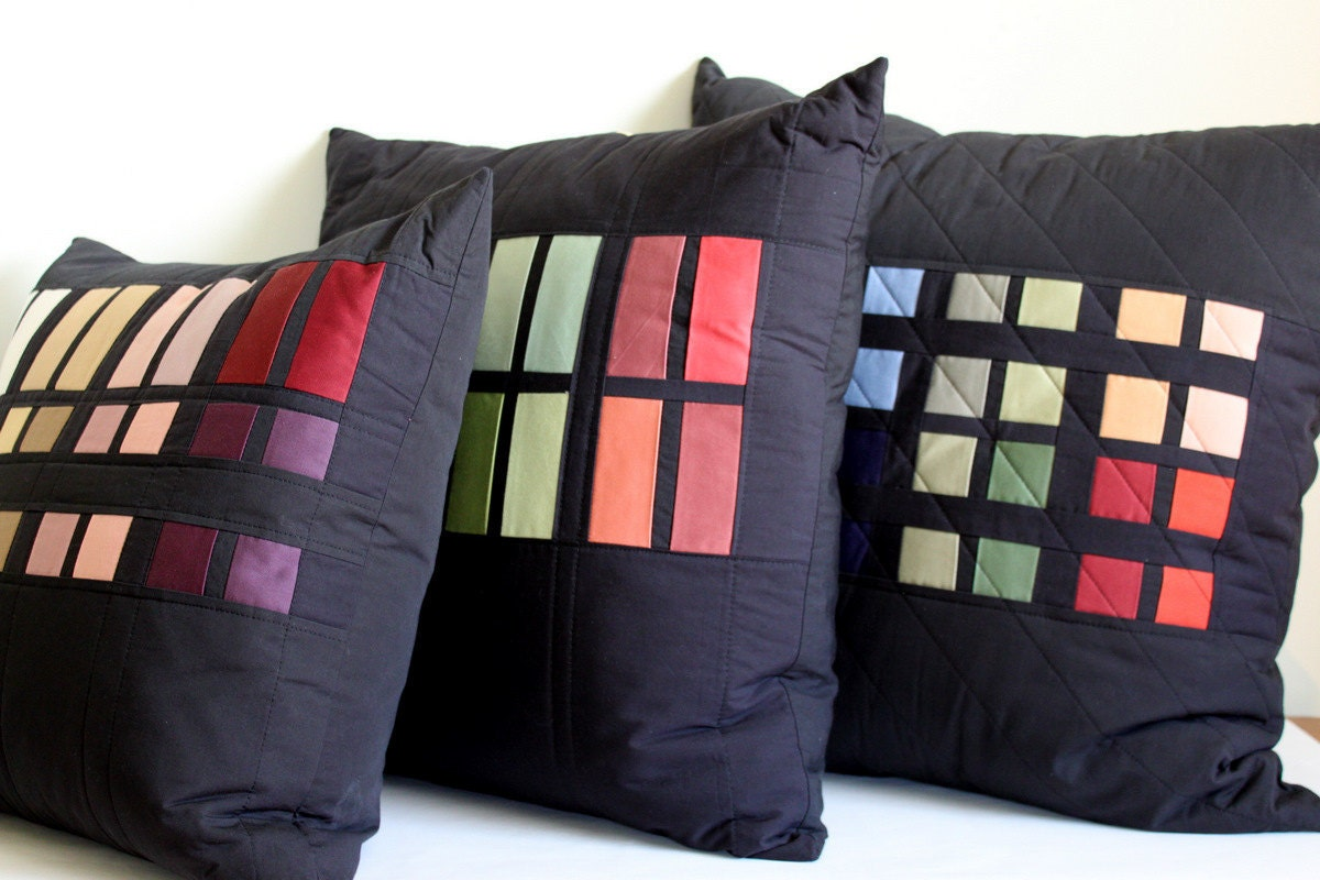 Modern Colorblock Throw Pillows. Quilted By