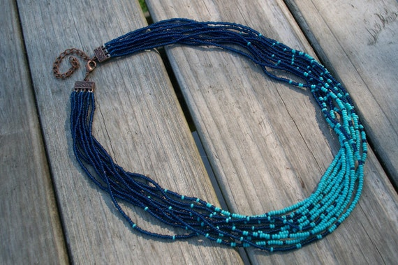 Royal and Turquoise Colored Seed Bead Necklace