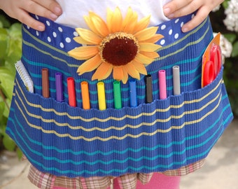 Blue Sunflower Upcycled Artist Apron