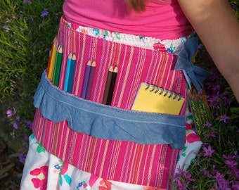 Upcycled Pink and Denim Stripped Artist Apron