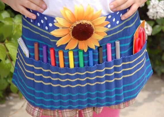 Blue Sunflower Upcycled Artist Apron