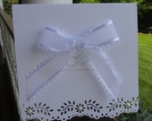 Wedding Card Decorative Edge and Organza Bow, Handmade