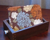 Brown, Blue and Orange Floral Zippered Coin Purse