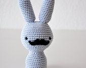 SALE- 60% off-Crochet Mustache Bunny Amigurumi in Grey - One of a Kind