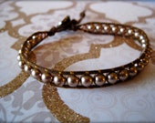 Bronze Medal Crystal Pearls on Brown Cord Wrapped Bracelet