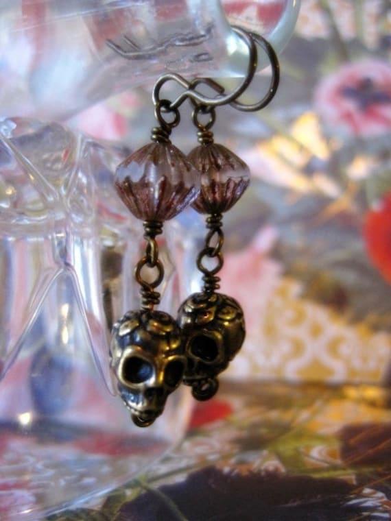 Reserved for TJ Dia De Los Muertos Bronze Skull Earrings