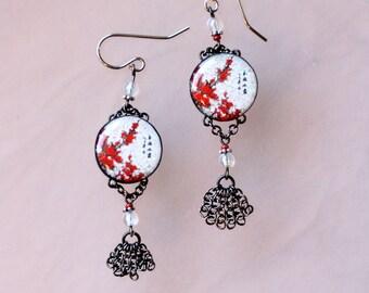 Asian Silkscreen Earrings