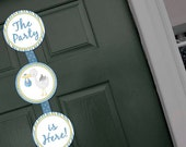 Baby Boy Stork Welcome Sign Door Party Printable - Stick to Your Story