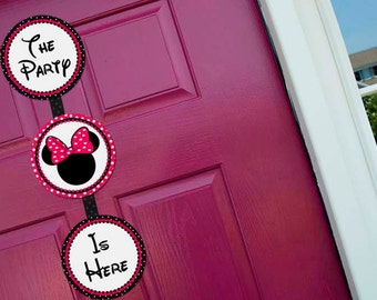 Minnie Mouse Pink Welcome Door Sign Party Printable - Stick to Your Story