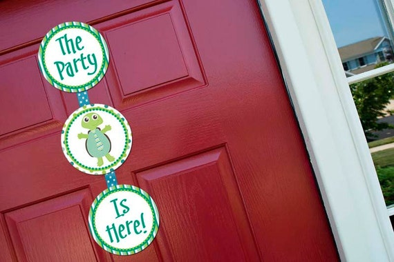Little Turtle Boy Welcome Door Sign Party Printable - Stick to Your Story