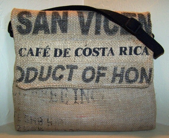 13in Laptop Case Made From Burlap Coffee Bags