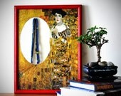 Accent wall mirror - adapted from Klimt's painting Adele Bloch-Bauer I - small decoupage mirror