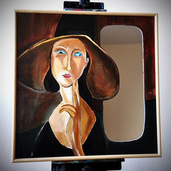 Mirror wall art - mirror a la Modigliani - square 18 x 18, brown, yellow, painted