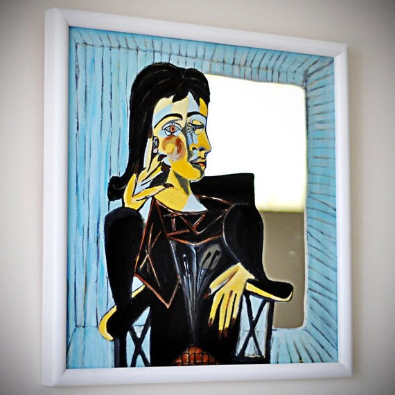 Decorative square wall mirror, cubist - Picasso's lover - blue, framed, 18 x 18
