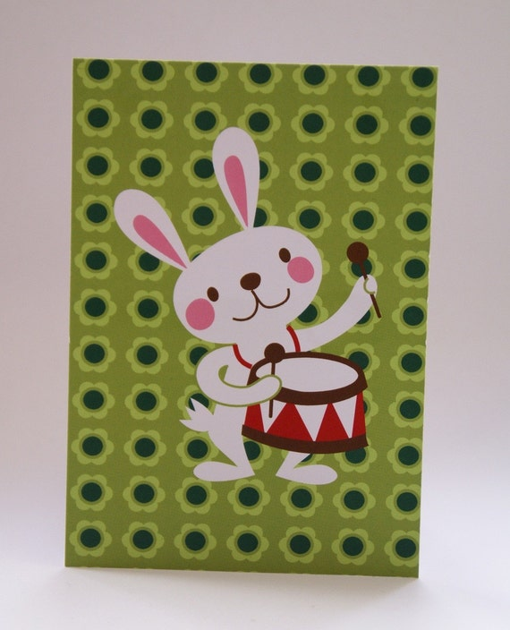 Postcard Bunny with drums