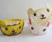 Adorable Smiling Animals Crochet Lace Baskets. Set Of Three. Easter Gift. Candy Bowls.