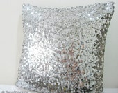 Starry Night. Luxury Glamour. 17inch Silver Sequins Embellished Pillow Cover. Hand Sewn Sparkly Christmas Cushion Cover
