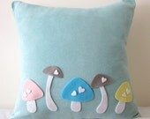 Love Mushrooms Soft Teal And White Pillow Cover. Woodland Charm. Nursery Decor