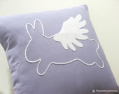 When Rabbit Flys. Flying Bunny Lilac And White Pillow Cover. Yarn Hand Embroidery