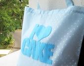 I Love Cake Reusable Light Blue Shopping Bag. Market Tote. White Polka Dots