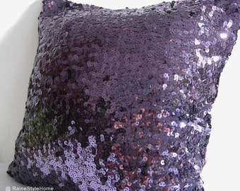 Luxury Glamour. Purple Sequins Embellished Pillow Cover. Hand Sewn Sequins. Sparkly Christmas Gift