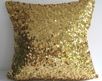 Starry Night. Luxury Glamour. Gold Sequins Embellished Pillow Cover. Handsewn Decorative Christmas Cushion Cover