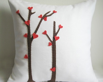 SALE. Love Trees Blossom White Pillow Cover. Romantic Girls Room Decor. Decorative Throw Pillow. Color Choice