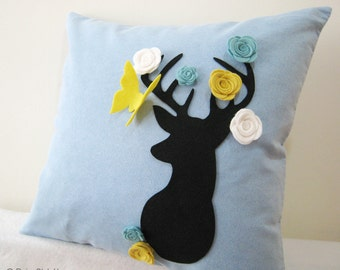 Secret Garden. Deer Dreaming Of Spring Soft Blue Pastel Blue Pillow Cover. Decorative Whimsical 17inch Cushion Cover