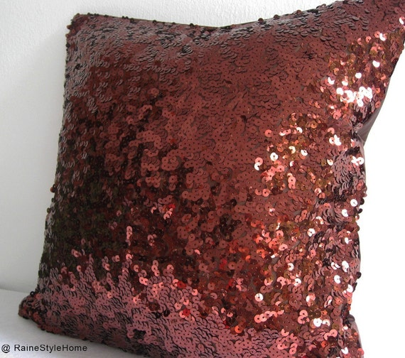 Starry Night. Luxury Glamour. Sparkling Brown Sequins Embellished Pillow Cover