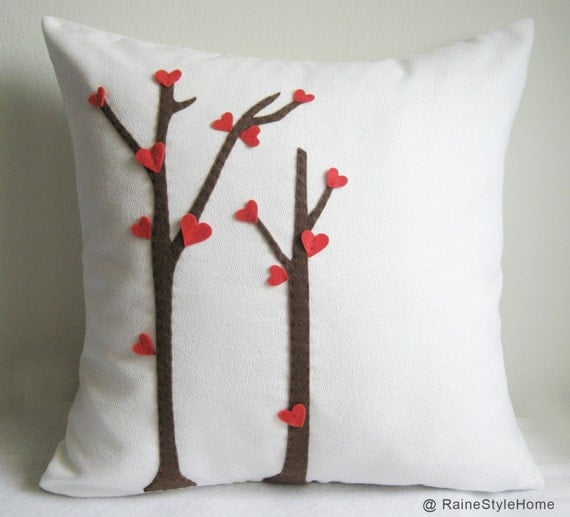 SALE. Love Trees Blossom White Pillow Cover. For Your Special One. Valentines Day Gift Cute Housewarming Gift