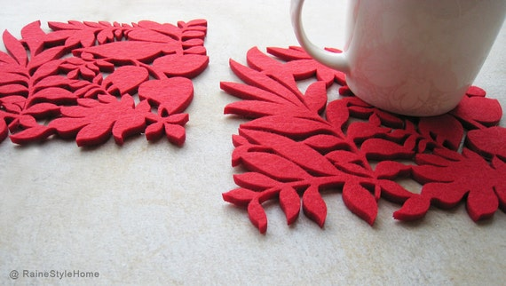 Autumn Leaves Autumn Ferns Red Felt Coasters. Set Of Four. Nature Lovers.