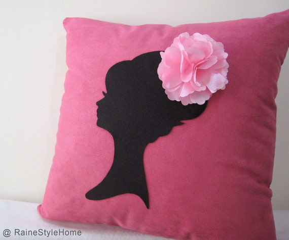 Romantic Cameo Hot Pink And Black Pillow Cover. Lady With Pretty Rosette Headpiece. Girls Room Decor