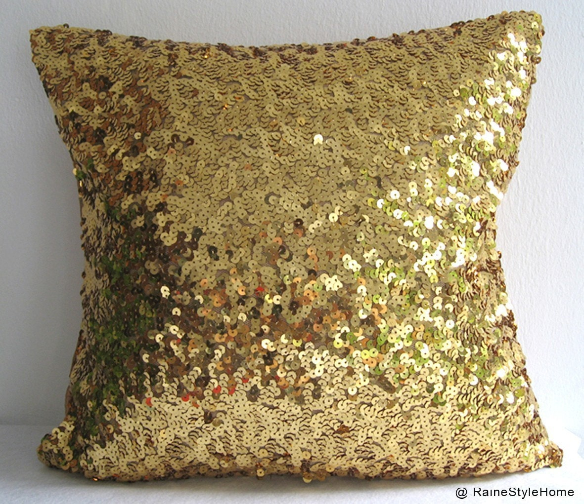 Starry Night. Luxury Glamour. Gold Sequins Embellished Pillow