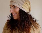 Upcycled Cashmere Hat Caramel Nougat Slouch Style                                  Made in England UK