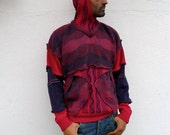 Upcycled Mens Red Blue Hoody Sweater                                         Made in England UK