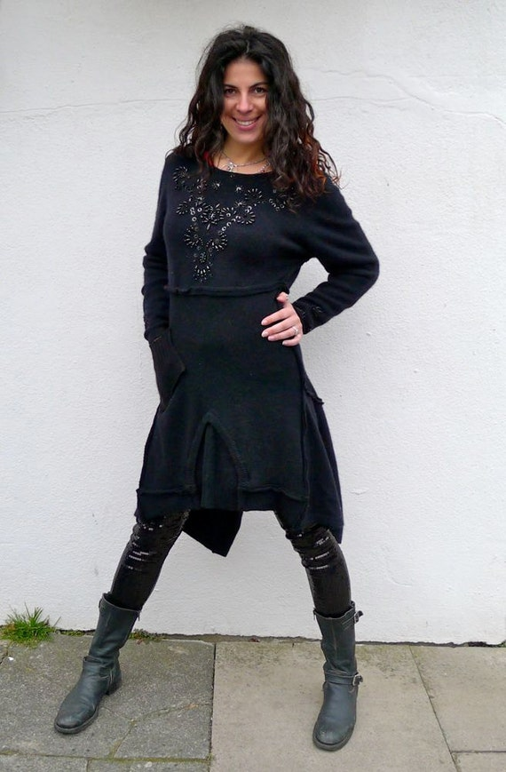 Midnight Black Upcycled Beaded Cashmere Sweater Dress                 Made in England UK