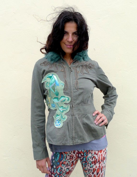 Upcycled Jacket with Exotic Floral Applique & Sheepskin Trim                         Made in England UK