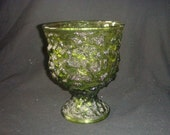 Vintage green glass eo brody compote planter